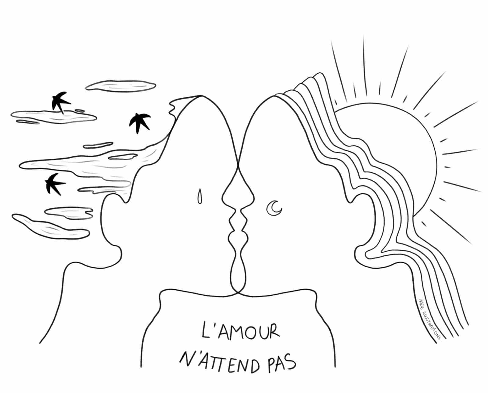"""L'Amour n'attend pas"" Nade Illustrations"